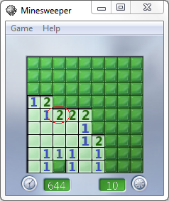 Windows Minesweeper game two tiles rule