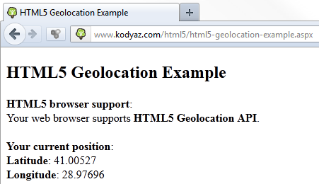 HTML5 Geolocation example code for web programmers