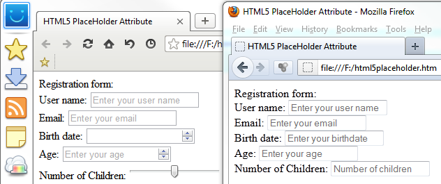 HTML5 placeholder attribute support in web browsers