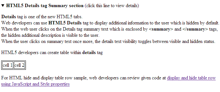 unhide hidden text using HTML5 Details tag