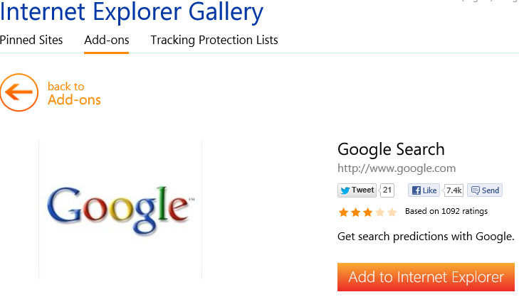 add Google search provider to IE10 search providers