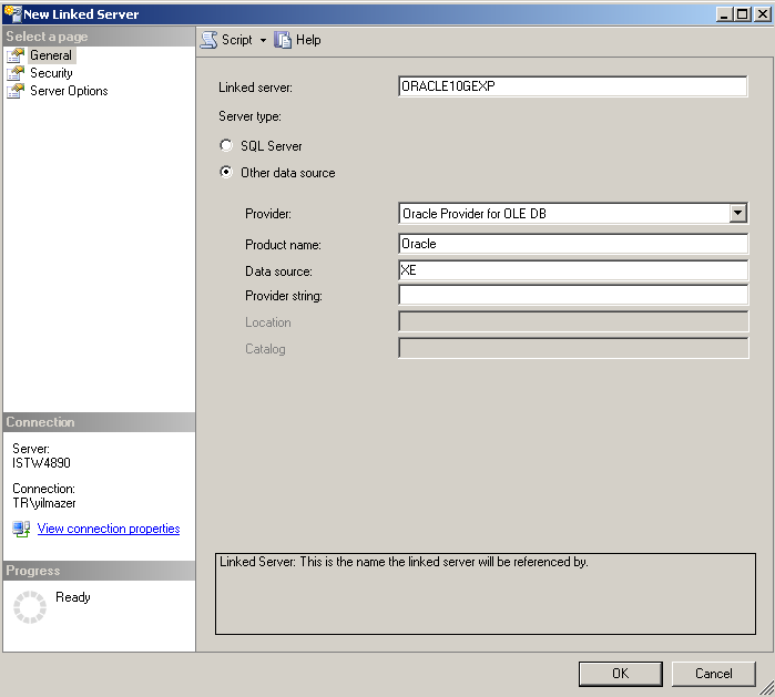 Oracle 10g Express as SQL Server Linked Server