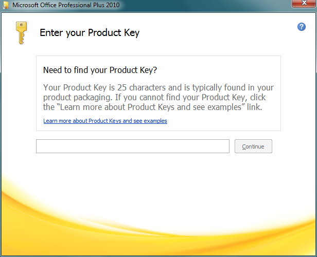 Enter Microsoft Office 2010 product key