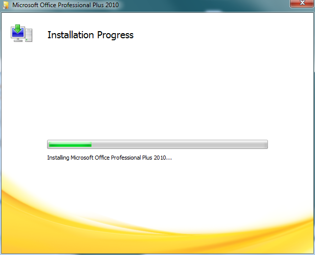 Microsoft Office 2010 installation process