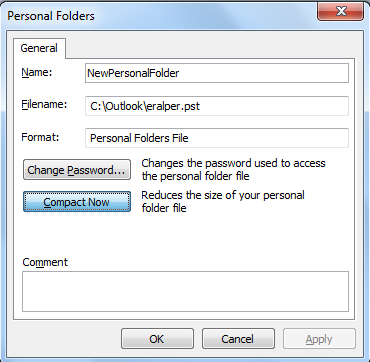 Compact Outlook personal folder .pst file
