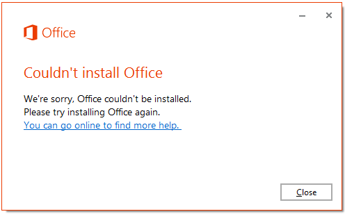 can t install office 2013