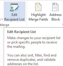 filter recipient data from Excel data source