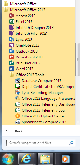 Windows 7 All Programs menu Microsoft Office 2013