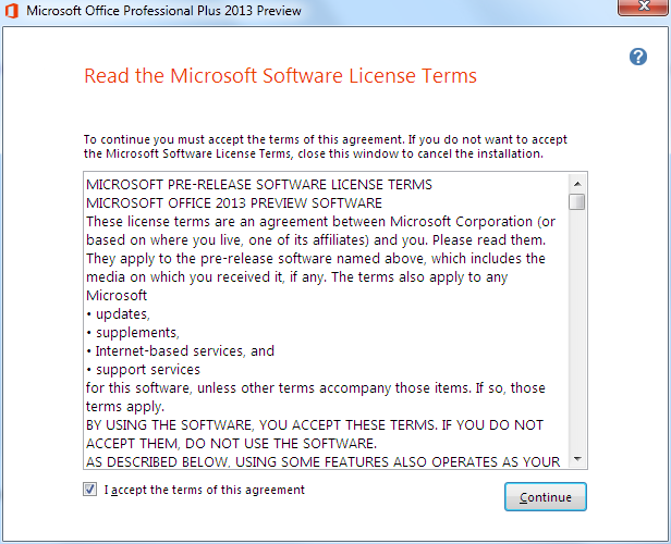 Microsoft Office 2013 license terms