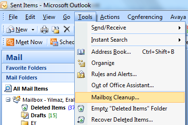 Microsoft Outlook > Tools > Mailbox Cleanup menu options