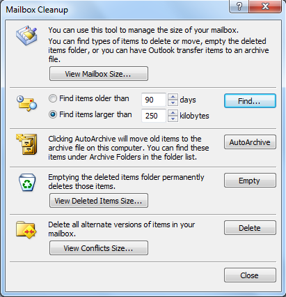 Microsoft Outlook Mailbox Cleanup tool