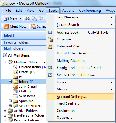 Outlook tools and account setting for compact command