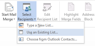 select recipients using existing Excel list
