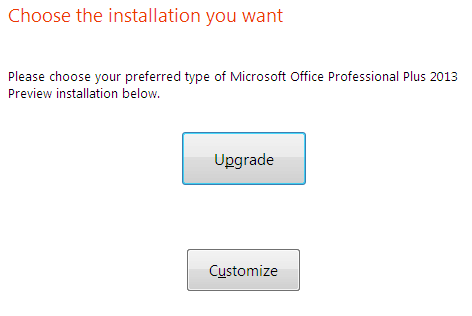 type of Microsoft Office 2013 installation
