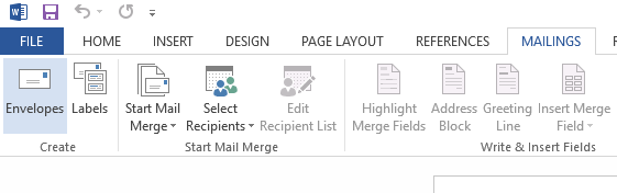 Word document Mailings tab for label printing template and recipients