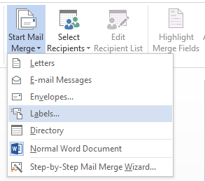 Word Mailings tab Start Mail Merge for Labels
