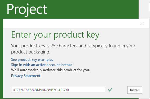 microsoft office project professional 2013 activation key