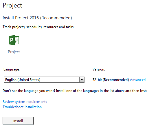 microsoft project 2016 64 bit