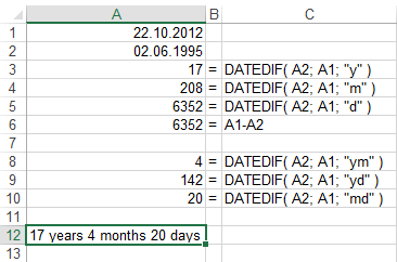 calculate age function using DATEDIF in Excel 2013