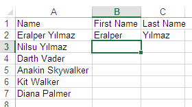 Split first name from fullname using Excel 2013 Flash Fill