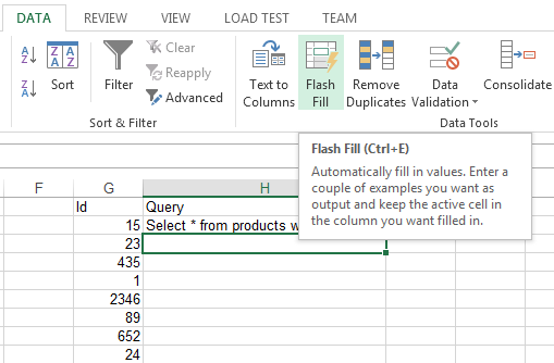 Microsoft Excel 2013 flash fill