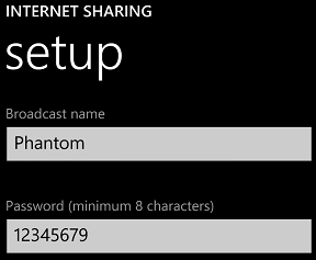 Windows Phone 8 Internet Sharing settings