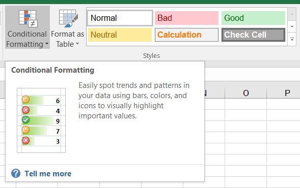 Conditional Formatting Styles tools for Excel users