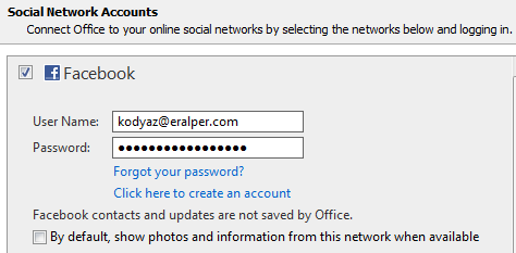 configure social network account for displaying Facebook updates from Outlook