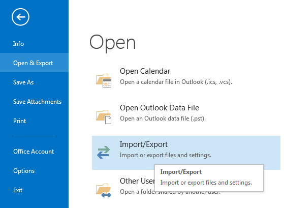 import or export Outlook contacts