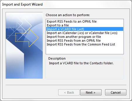 import vcard file to Office Outlook