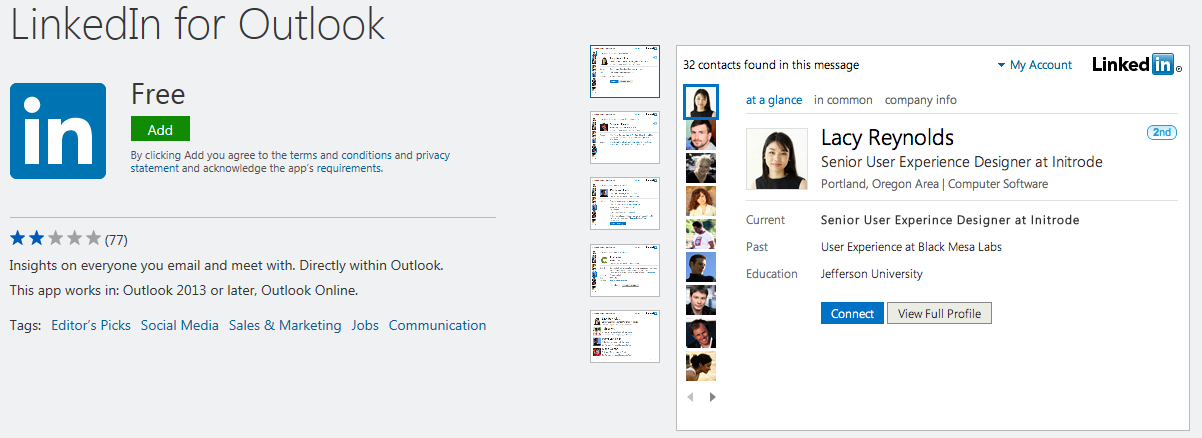 LinkedIn app for Outlook in social network category