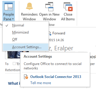 configure Outlook to connect to social networks