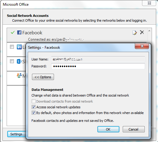 Facebook social network account settings for Outlook access