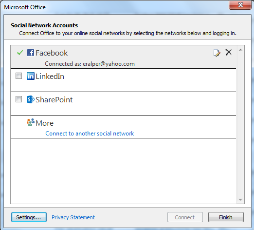 social networks available for Outlook using Outlook Social Connector