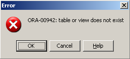 ORA-00942: table or view does not exist