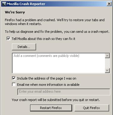 Mozilla Firefox plugin-container.exe crash reporter