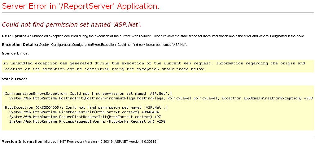 Could not find permission set named ASP.Net