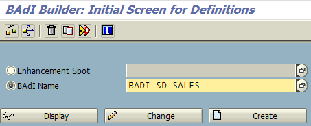 ABAP BAdI builder transaction code SE18