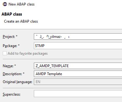 create ABAP class for SAP HANA AMDP procedure