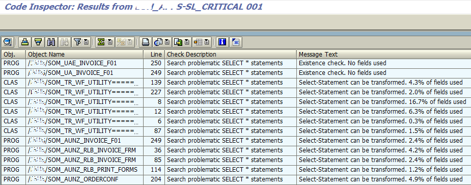 ABAP Code Inspector check for SAP Hana readiness