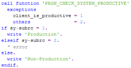 ABAP function module PRGN_CHECK_SYSTEM_PRODUCTIVE for production test