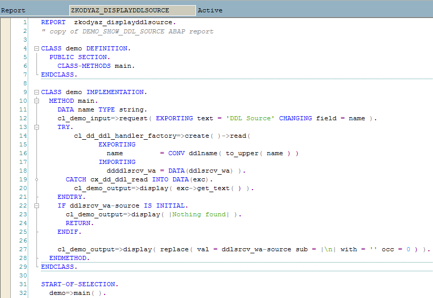 ABAP codes of DEMO_SHOW_DDL_SOURCE SAP program