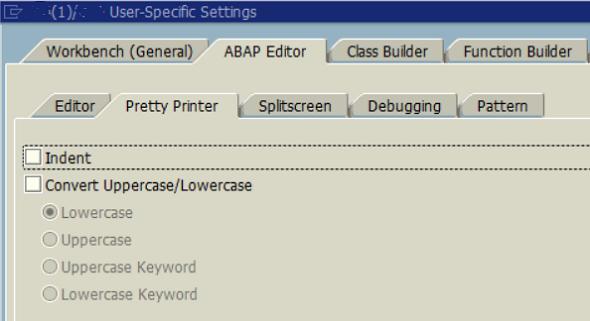 ABAP Editor Pretty Printer settings