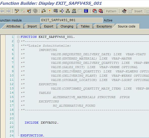 ABAP function module exit
