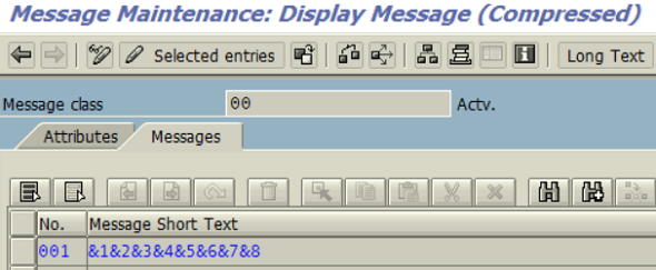 check ABAP message class short text for parameters