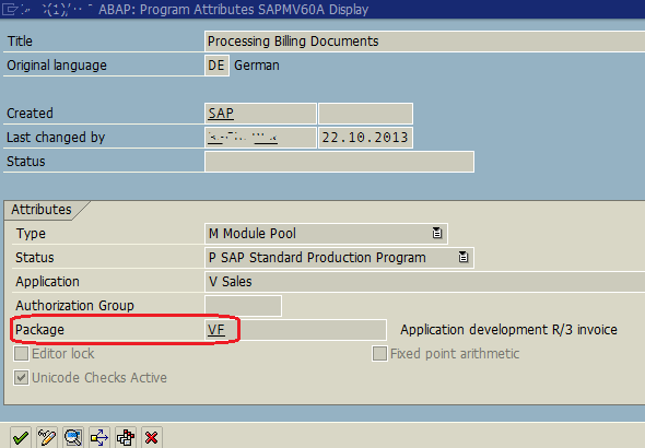 ABAP program package attribute