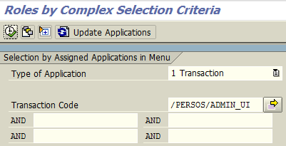 search SAP roles by complex selection criteria like tcode