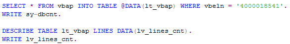 ABAP select statements and display number of rows selected