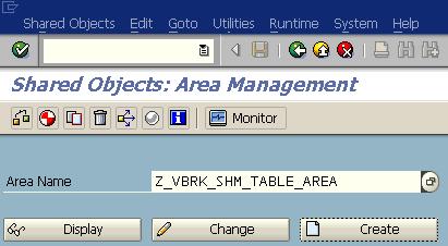 SAP SHMA tcode to create shared memory area