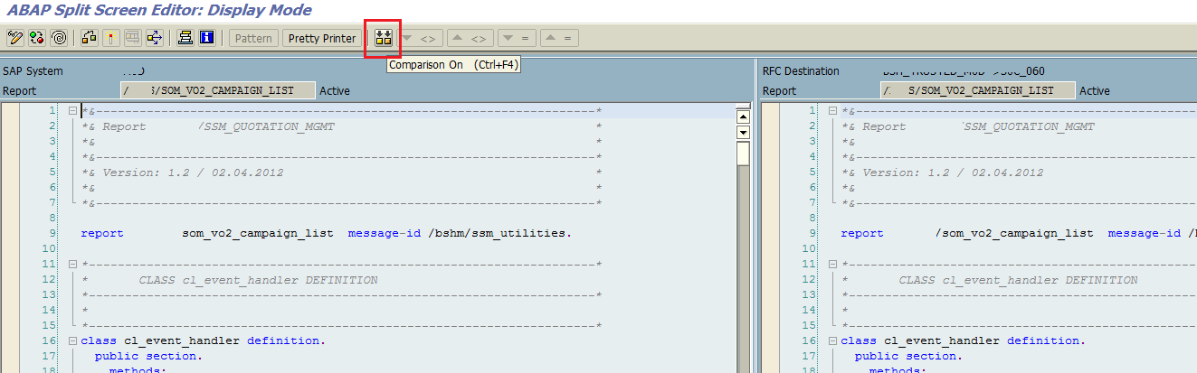 ABAP code compare using SE39 transaction